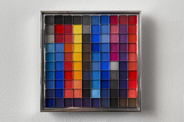 Rachel Lachowicz, 'Untitled (Color Computation: Turquoise, Blue, Orange,Yellow)', 2012, Painting, Eyeshadow, aluminum, Shoshana Wayne Gallery