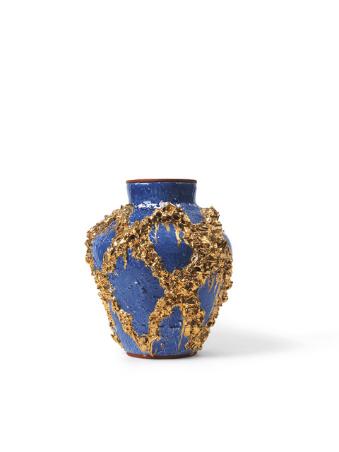 , 'Large Slip Motif Vase with Cobald Blue, Metallic Gold + Red,' 2018, Häusler Contemporary