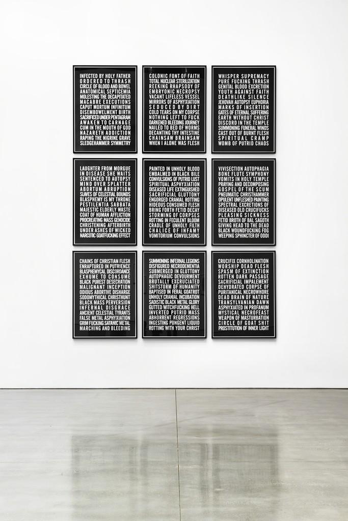 Installation view, Poems Photography: Laura Wilson © Steven Shearer. Courtesy of the artist, Galerie Eva Presenhuber, Zurich, and Gavin Brown's enterprise, New York.