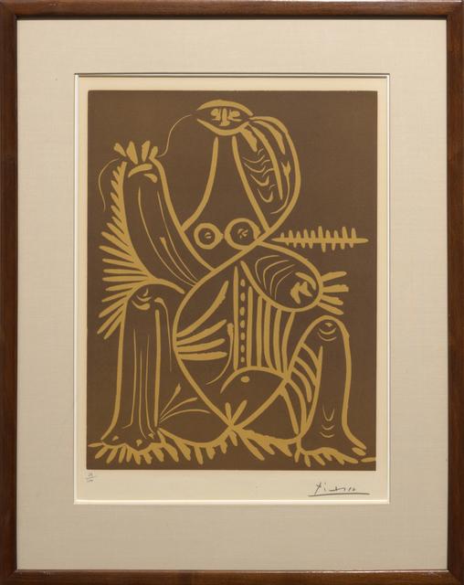 Pablo Picasso, 'Femme Assise en Pyjama de Plage (Jacques Prévert et André VIllers, Diurnes: découpages et photographies)', 1962, Print, Linoleum cut in color on Arches wove paper, Heather James Fine Art Gallery Auction