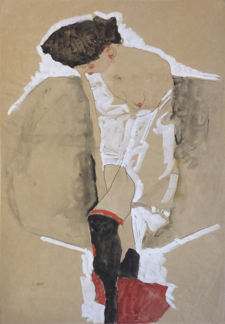 , 'Standing Female in Shirt with Black Stockings and Red Scarf,' 1911, Galerie St. Etienne