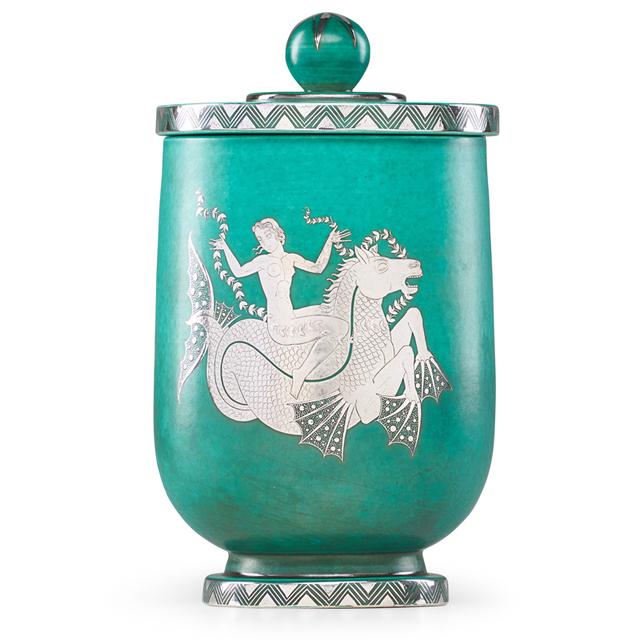 Wilhelm Kåge, 'Argenta lidded vessel with nude riding a seahorse, Sweden', 1944, Design/Decorative Art, Glazed stoneware, silver inlay, Rago/Wright