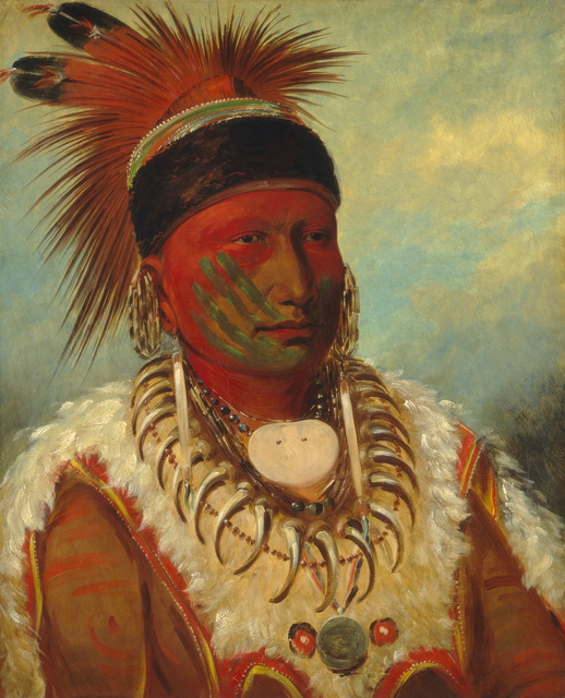 George Catlin, 'The White Cloud, Head Chief of the Iowas', 1844/1845, Painting, Oil on canvas, National Gallery of Art, Washington, D.C.
