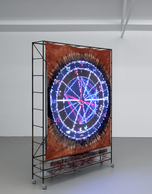 Ei Arakawa, 'Performance People (7360 Sukiyaki, December 17, 1973, 1800pm, Buffalo, NY)', 2018, Mixed Media, LED strips on hand-dyed fabric, 2 LED transmitters, 10 power supplies, 2 SD cards, metal, wire, Galerie Fons Welters