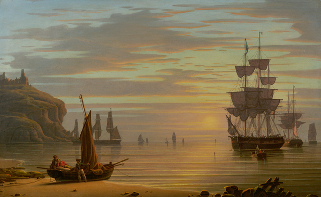 , 'Calm & Sunset, Shipping; Tynemouth Point and Boat,' 1830, Questroyal Fine Art