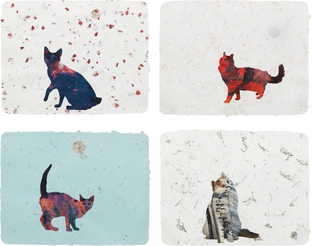 Christian Holstad, 'Four Works: (i) Scaredy Cats #10 (ii) Here Kitty Kitty #20 (iii) Here Kitty Kitty #10 (iv) Here Kitty Kitty #3', (i) , (ii) 2005; (iii) , (iv) 2004, Collage on handmade paper, Phillips