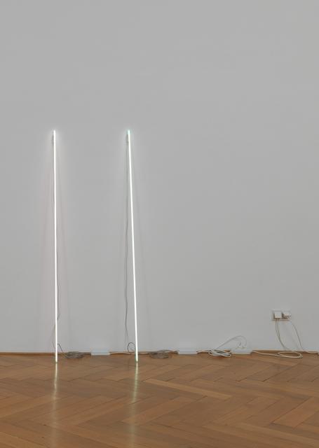 , 'Leaning Horizon (neon 6500 Kelvin, 1.8 m) & Leaning Horizon (neon 5500 Kelvin, 1.8 m),' 2015, Galerie Buchholz