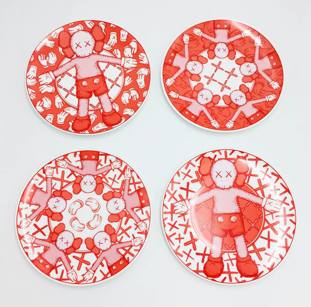 KAWS, 'Limited Ceramic Plate Set (Set of 4) - Red', 2019, Lougher Contemporary