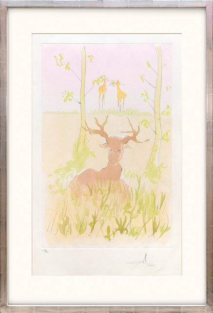Salvador Dalí, 'Le Cerf Malade. (The Sick Stag.)', 1974, Print, Drypoint etching on Arches paper with hand colouring by pochoir., Peter Harrington Gallery
