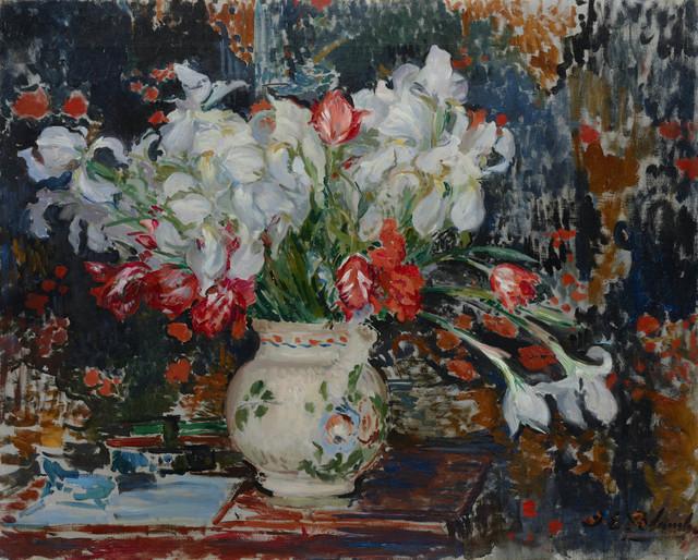 , 'Bouquet d'iris blanches et de tulipes rouges,,' ca. 1911, Stoppenbach & Delestre