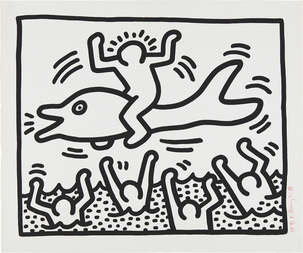 keith haring untitled man on dolphin 1987 artsy