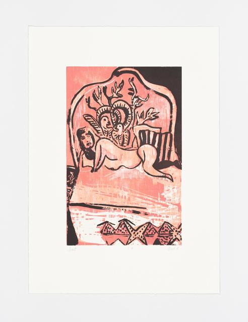 Tal R, 'Hotel Rye from the portfolio Girl drawing Lilly', 2016, Print, Woodcut, sugar lift aquatint, soft ground aquatint, drypoint, BORCH