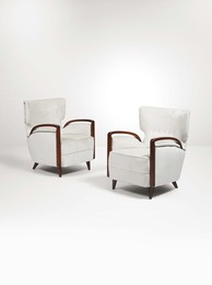 A pair of mod. 511 armchairs with a wooden structure and fabric upholstery
