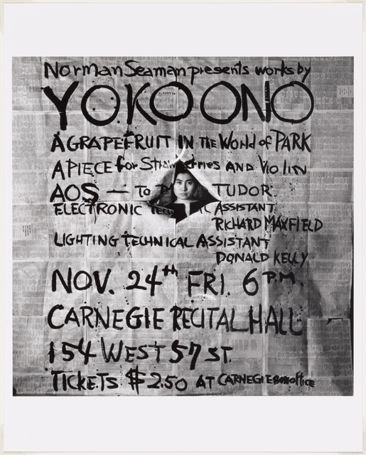 , 'Works by Yoko Ono, poster, Carnegie Recital Hall, New York, November 24, 1961.,' 1961, The Museum of Modern Art