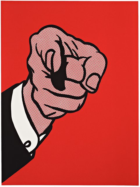 Roy Lichtenstein, 'Finger Pointing', 1973, Print, Screenprint in colours, on wove, RAW Editions Gallery Auction