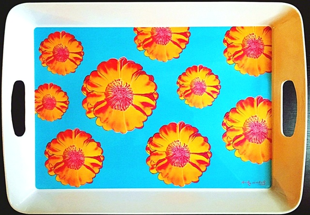 Andy Warhol, 'Prototype Tray for Andy Warhol's Tacoma Flower Design  (from the estate of Tim Hunt, Warhol Foundation curator and sales agent)', 2005, Design/Decorative Art, Melamine tray. Plate signed with labels and markings on the verso., Alpha 137 Gallery Gallery Auction