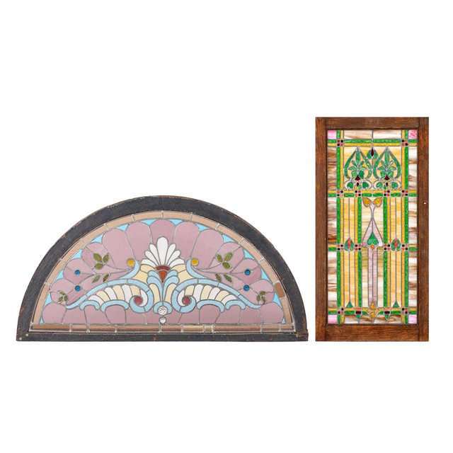 'Two Large Windows With Stylized Plant Designs, USA', Early 20th C., Rago/Wright