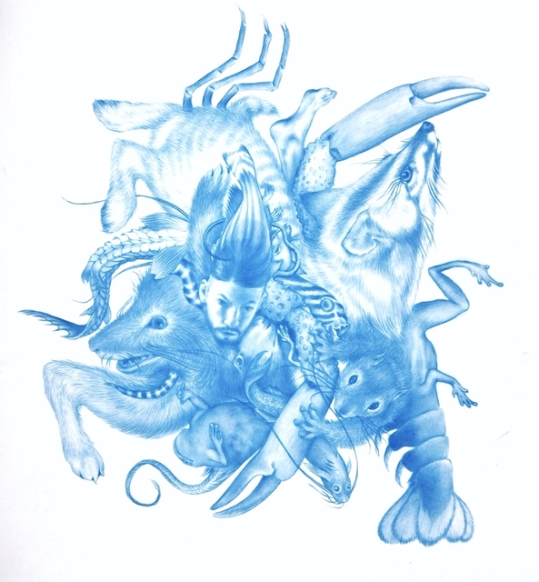 Zachari Logan, 'Selfish Genes #3', 2013, Drawing, Collage or other Work on Paper, Blue Pencil on Mylar, Visual AIDS Benefit Auction