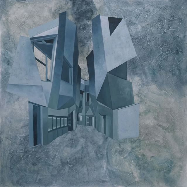 Cecilia Villanueva, 'Chiaki Arai Void, Architecture blueprint, perspective, blue and white softones, texture like watercolor, postmodern, conceptual art, geometric design', 2017, Archway Gallery