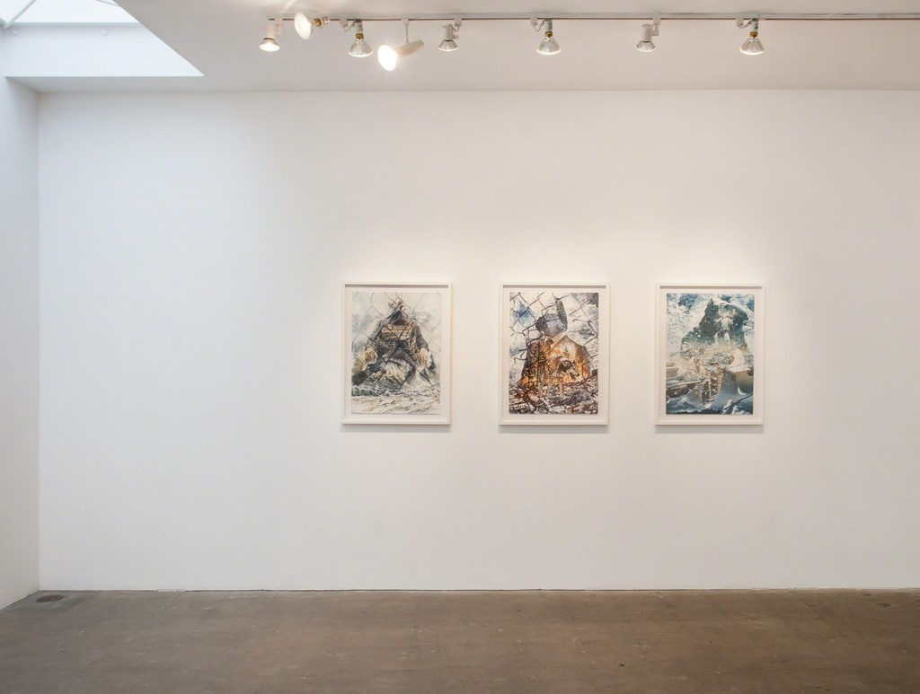 "Chad Robertson, Left to Right: ""Untitled, #32, Untitled #35, Untitled #36"", 2014, oil on paper, 30 x 22 inches each"