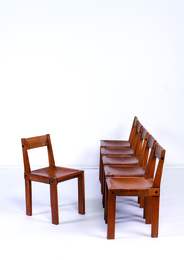 Six S24 dining chairs in elm and leather
