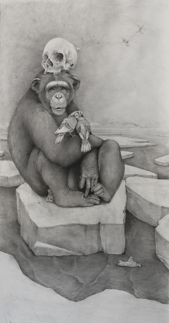 , 'Chimp with Skull,' 2016, Hollis Taggart Galleries