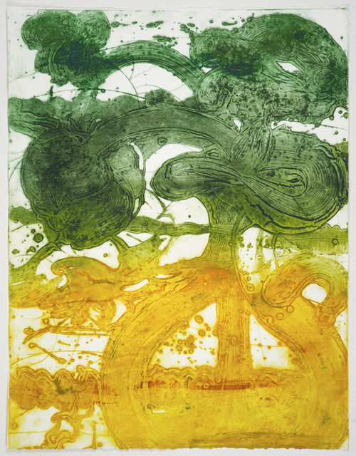 Catherine Howe, 'Bouquet (peony, yellow, jade)', 2019, Print, Unique carborundum collagraph printed on Rives BFK paper, Manneken Press