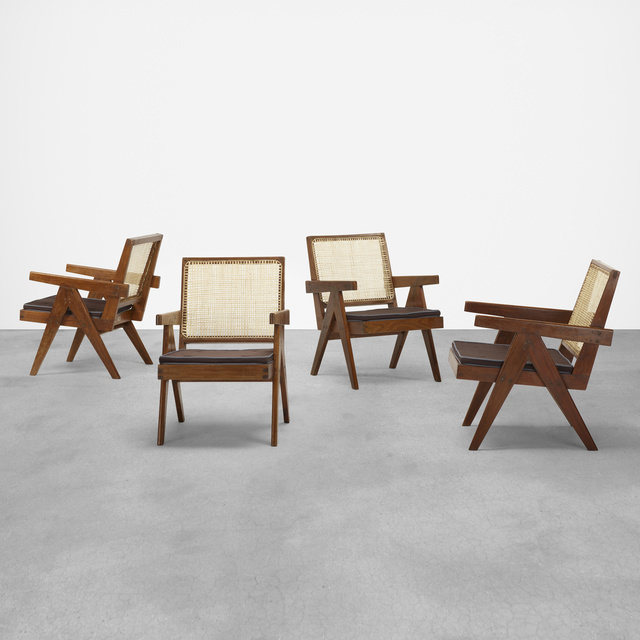 Pierre Jeanneret, 'Easy armchairs from Punjab Engineering College, Chandigarh, set of four', c. 1955, Rago/Wright