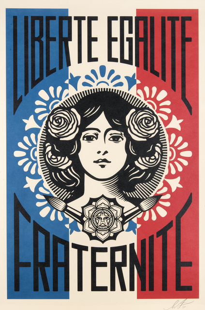 Shepard Fairey, 'Liberte, Egalite, Fraternite', 2018, Print, Offset lithograph in colours on cream Speckle Tone paper, Tate Ward Auctions