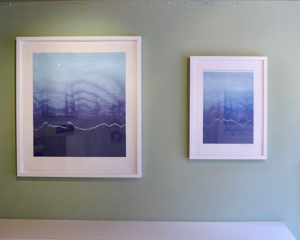 "Installation view with ""Echo Waves"" and ""Everything Nothing""."