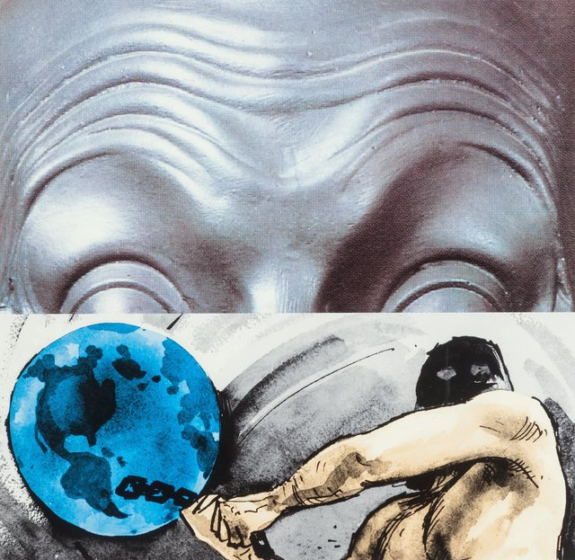 John Baldessari, 'Raised Eyebrows/Furrowed Foreheads: Figure with Globe', 2009, Heritage Auctions