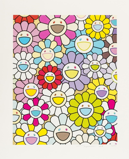 Takashi Murakami, 'A Little Flower Painting: Yellow, White and Purple (Gold) & Pink, Purple and Many other Colors (Platinum)', 2018, Forum Auctions