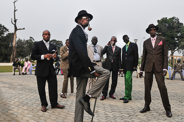 , 'The Playboys, Sapeurs posing in front of Memorial Savorgnan de Brazza (from the Gentlemen of Bacongo series), ,' 2008, October Gallery