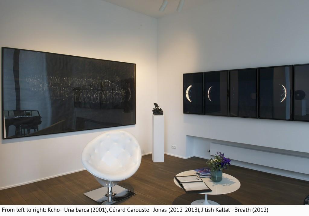 KCHO, Una barca (2001); Gérard Garouste, Jonas (2012-2013); Jitish Kallat, Breath (2012)