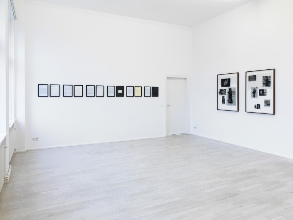 """Eric Baudelaire, Installation view of """"A Form that Accommodates the Mess"""", Barbara Wien, Berlin 2016"""