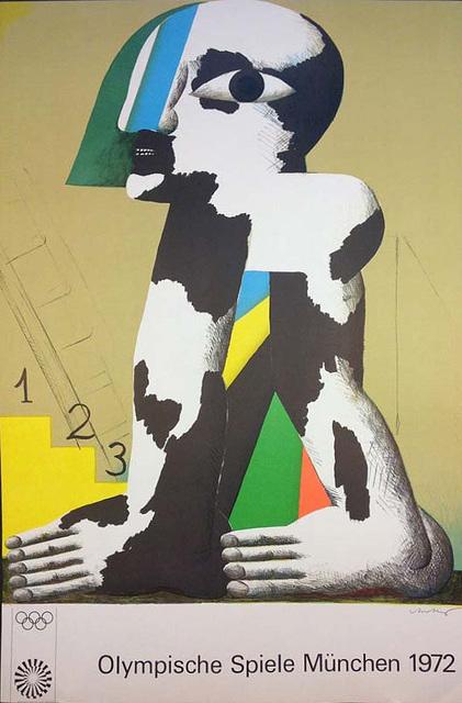 ", '1972 Olympische Spiele Munchen (Munich Olympic Games) poster featuring ""Kopffussler"" by artist Horst Antes.,' , The Loft Fine Art"