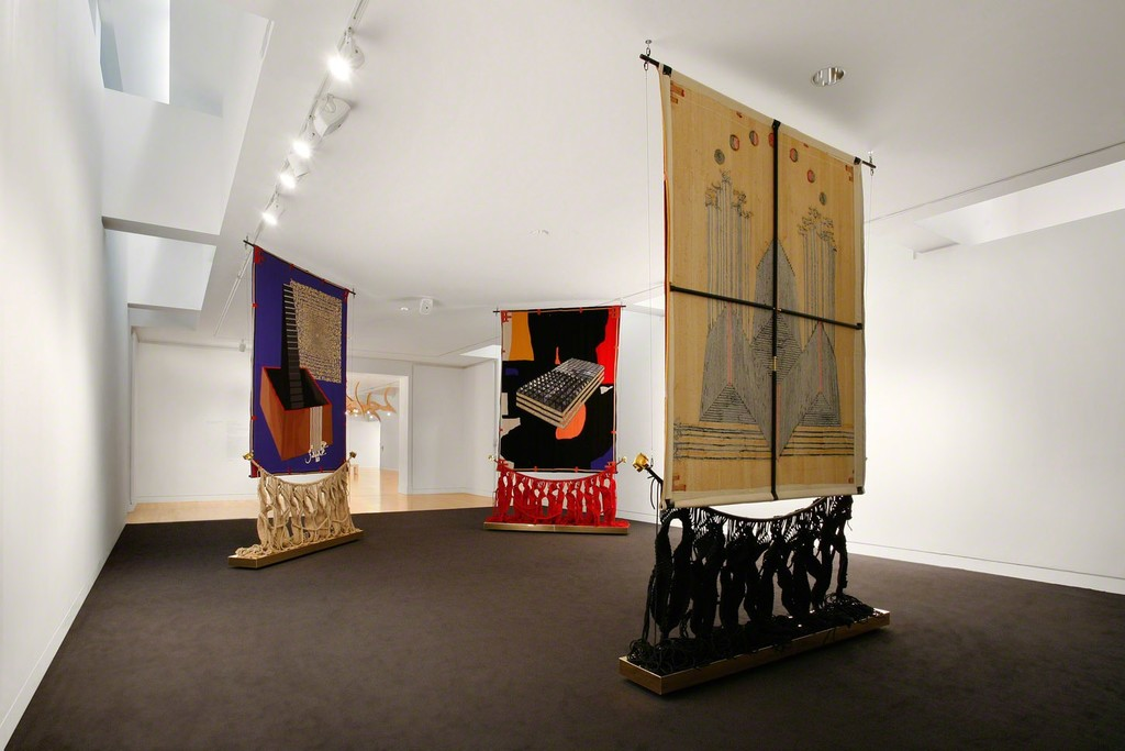 Shabazz Palaces with Nep Sidhu. SonicArchiTextile, 2015. Malcolm's Smile, 2015. Concept and design: Nep Sidhu. Wool, poly-cotton, aluminum. 150 x 96 x 15 in. Commissioned by the Frye Art Museum and funded by the Frye Foundation, Douglas Smith and Stephanie-Ellis Smith. Courtesy of the artist.  Photo: Mark Woods