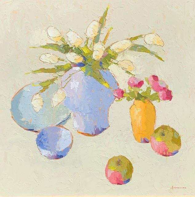 , 'White Tulips with Apples,' 2019, Shain Gallery