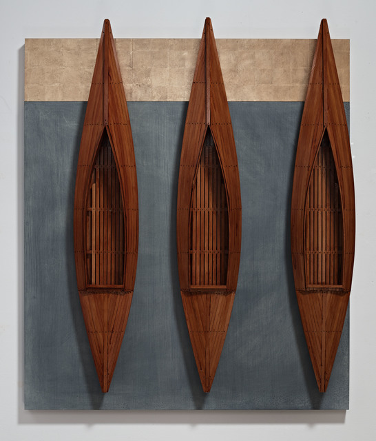 , 'Three Fir Boats, Blackboard, Golden Board,' 2014, Seager Gray Gallery