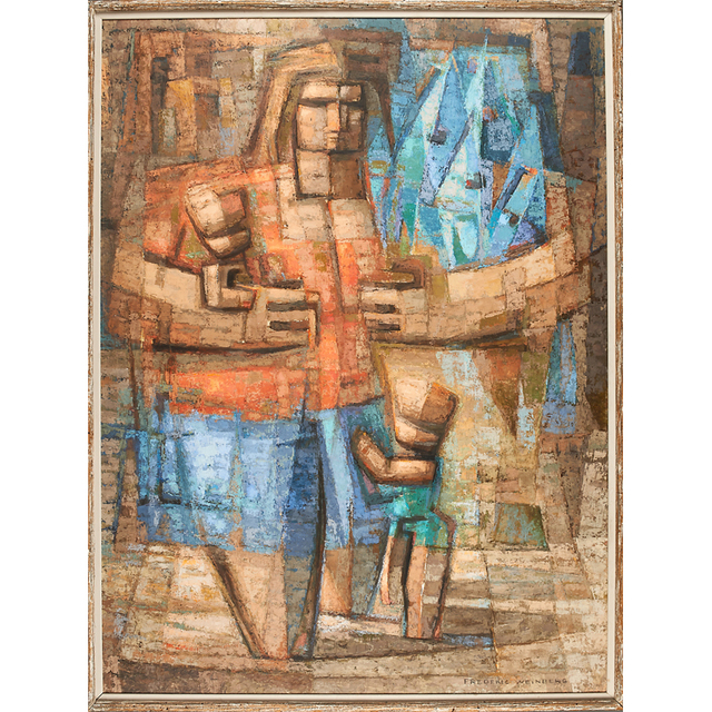 Frederic Weinberg, 'Untitled Painting (Mother With Children And Fish) (Framed), Philadelphia, PA', Rago/Wright