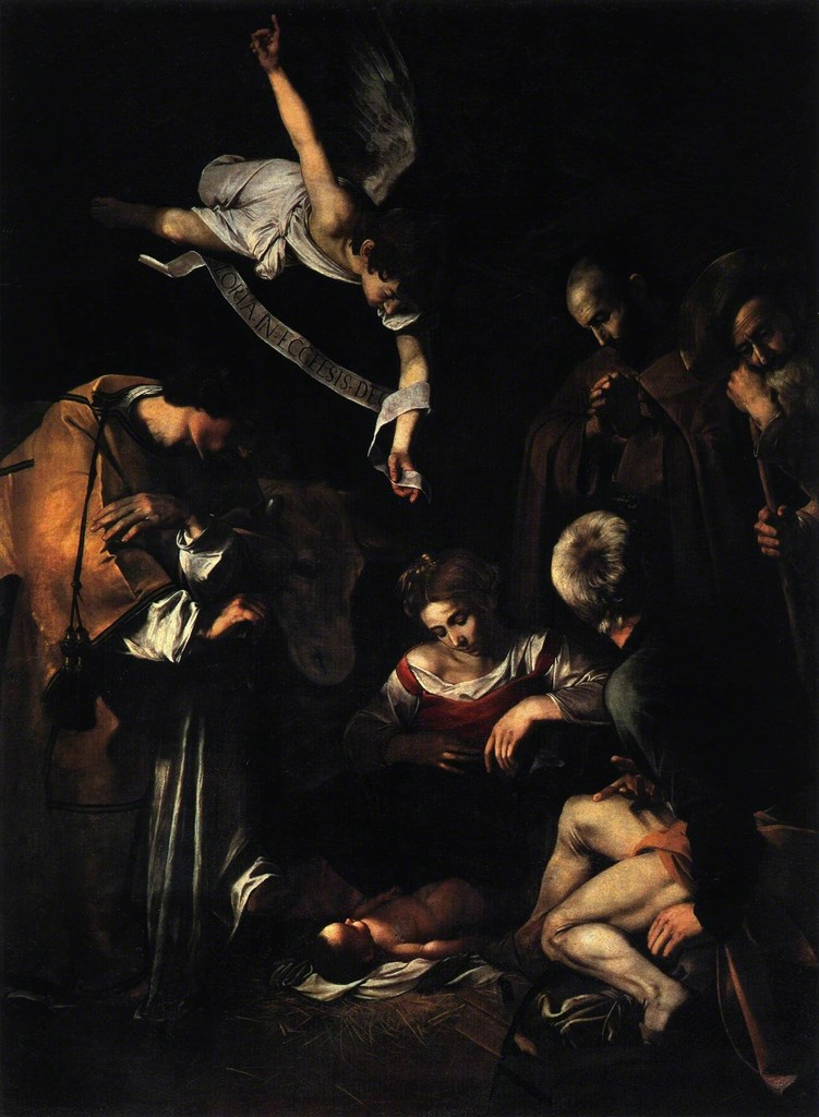 Michelangelo Merisi da Caravaggio, 'Nativity with St. Francis and St. Lawrence,' 1609, Art History 101