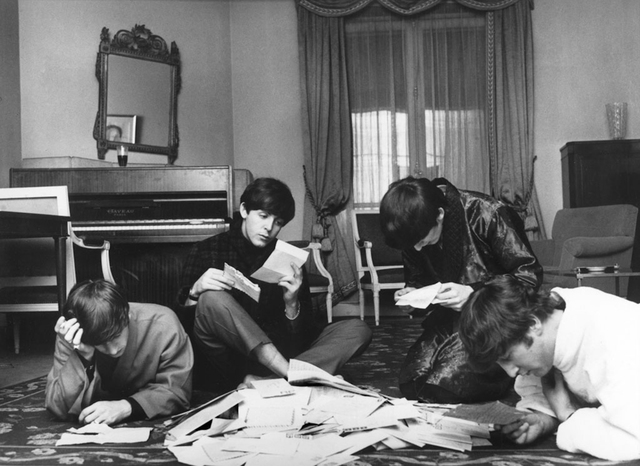 , 'The Beatles reading their fan mail, Paris,' 1964, Staley-Wise Gallery