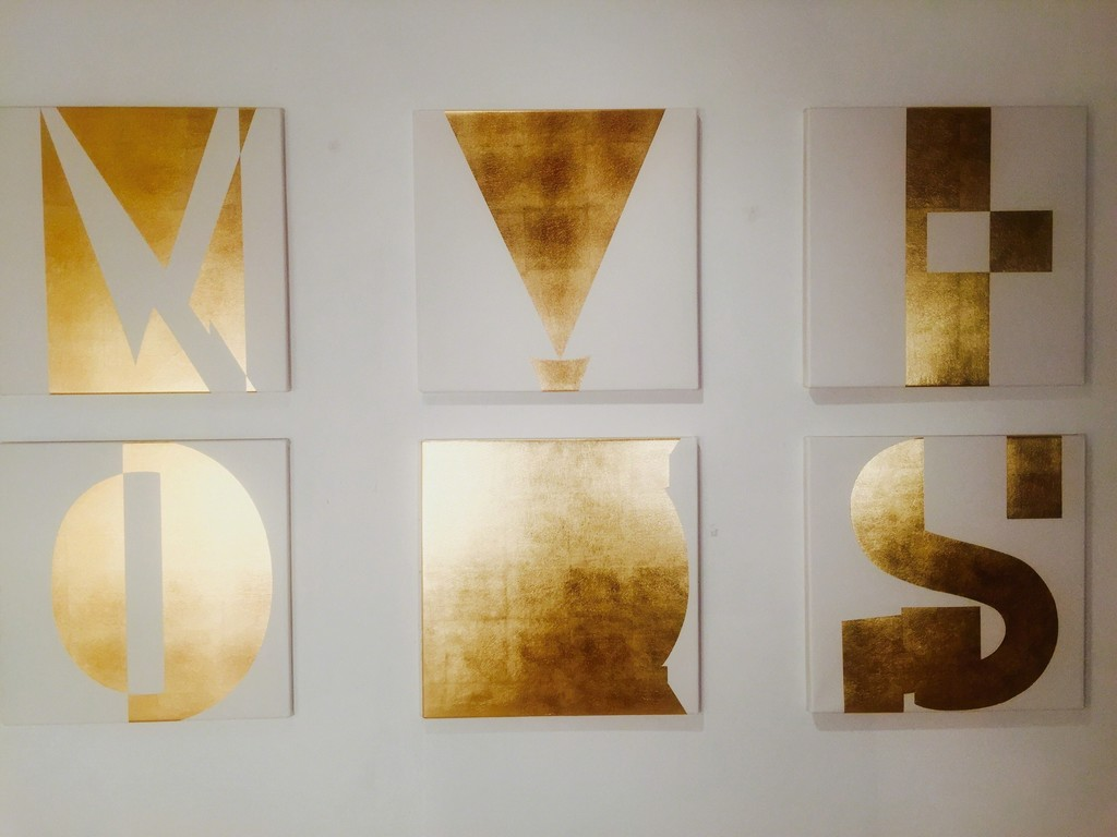 Grouping of individual 60x60 cm,  gold leaf on canvas  Exilio, Oppositor, Revolution,