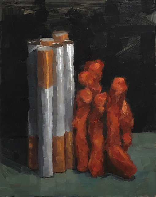 Tom Giesler, 'Smoke and Flamin' #1: cigarettes and flamin' hot cheetos', 2019, Painting, Oil on panel, McVarish Gallery