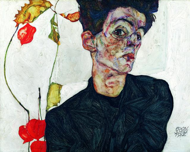 Egon Schiele, 'Selbstbildnis mit Lampionfrüchten', 1912, Leopold Museum