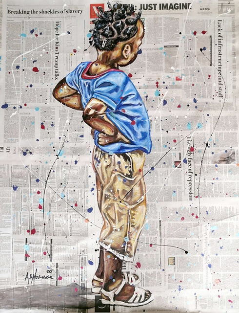 Andrew Ntshabele, 'Never look back II', 2020, Mixed Media, Acrylic on newspaper (pasted on canvas), ARTsouthAFRICA
