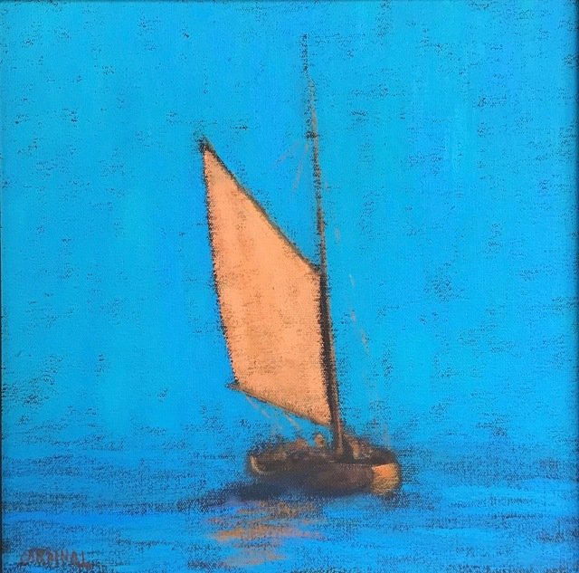 """, '""""Provincetown Harbor"""" Yellow Sailed Catboat in Bright Blue Sky and Sea,' 2010-2017, Eisenhauer Gallery"""
