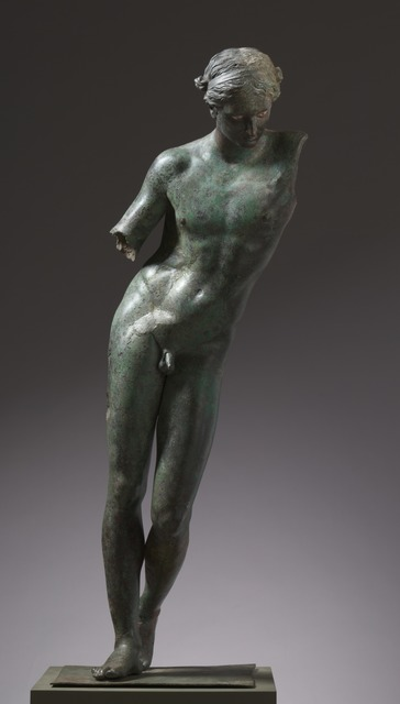 Praxiteles, 'Apollo the Python-Slayer', c. 350 BC, Sculpture, Bronze, copper and stone inlay, Cleveland Museum of Art