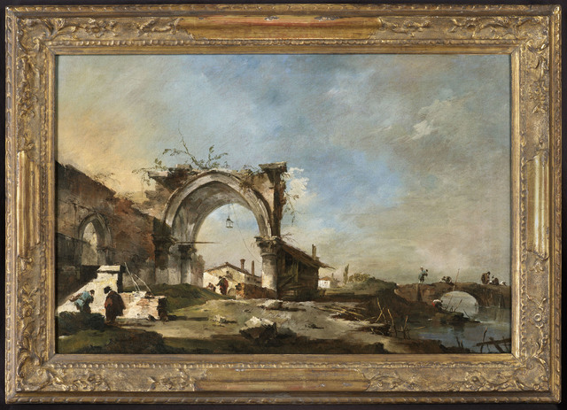 , 'Capriccio with a ruined late Gothic arch, with fishermen on a bridge (a pair (2)),' , DICKINSON