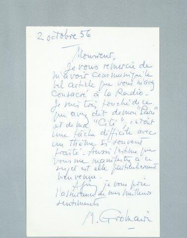 "Marcel Gromaire, 'Letter handwritten by Marcel Gromaire to André Saulnier with text mentioning ""his Paris and his city""', Other, Letter handwritten, DIGARD AUCTION"